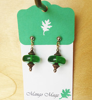 Green Glass Disc Earrings