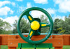 Outdoor front view of Rally Racing Wheel with working horn from Plan-It-Play