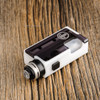 """Proteus Progeks - """"SQNK Beater"""" White Delrin. Shown with Sandblasted SQUI RDA by Proteus Progeks attached to mod for demonstration purposes only. This sale is for the mod only, and does NOT include the atomizer."""