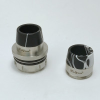 """Taifun - """"Drip Tip Dual for Taifun BT Only"""", Black & White (Acrylic) shown attached to Taifun BT Tasty Cap for demonstration purposes only. The Taifun BT Tasty Cap is NOT included in this sale. This listing is only for the Taifun BT Dual drip tip."""