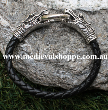 Braided Leather Dragon Heads Bracelet