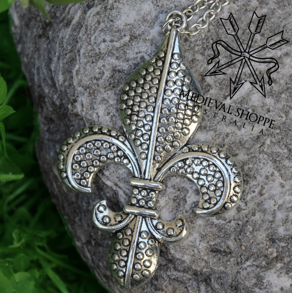 Lavish & Large Fleur-de-Lis Pendant & Chain