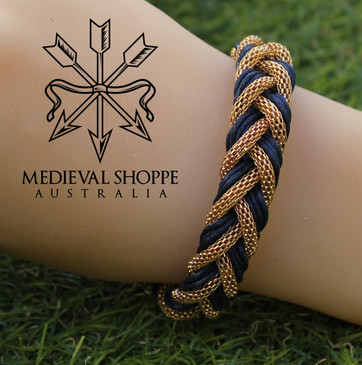 Gold & Blue Braid Medieval Bracelet