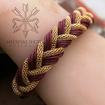 Gold & Red Braid Medieval Bracelet