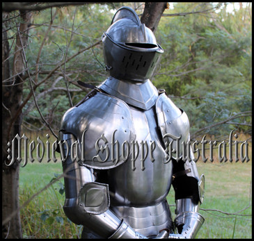 Stainless Steel Duke of Aquitaine Suit of Armour - Full Size Wearable with Plinth & Internal Display Frame
