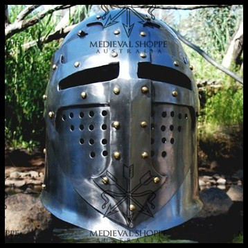 14th Century Bascinet. Medieval Knight's Helmet (18g) Chinstrap & Leather Liner