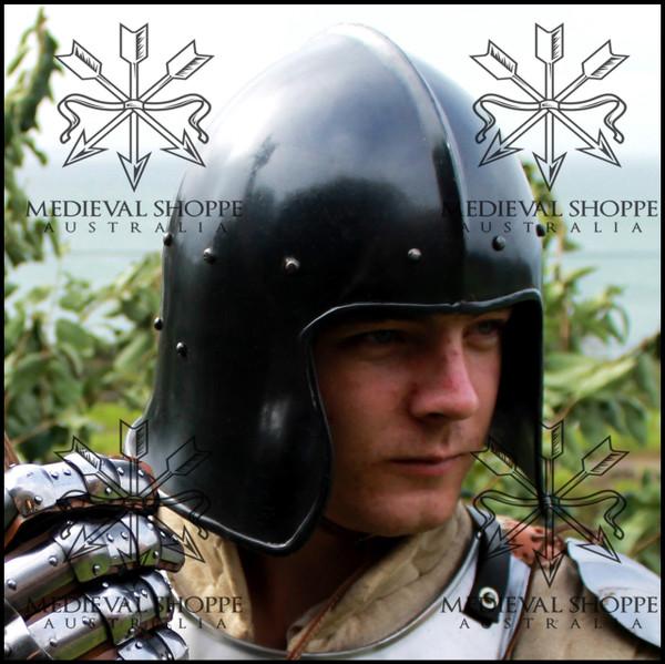 Black Celeta Helmet (14 Gauge) 15th Century Barbute