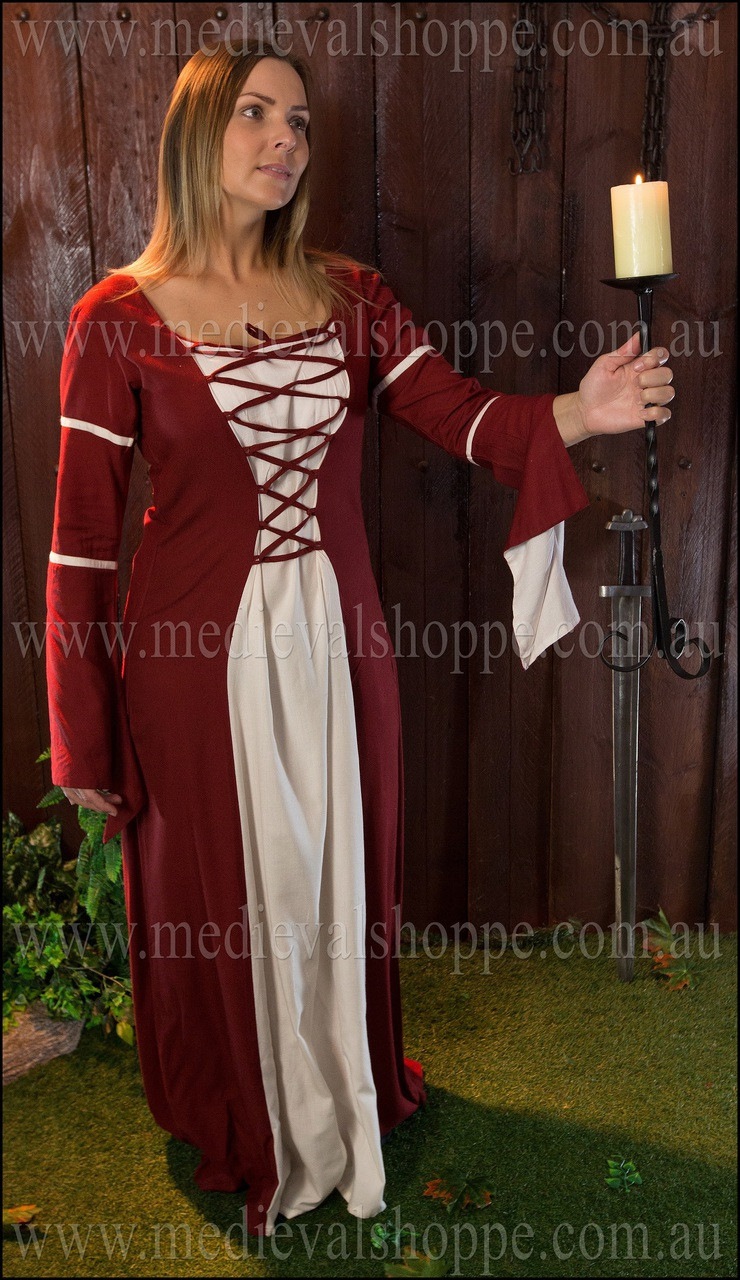 Red & White Medieval Dress - The Medieval Shoppe