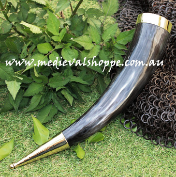 Large Drinking Horn with Bronze Fittings
