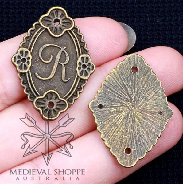 Initial R Miniature Bronze Plaque