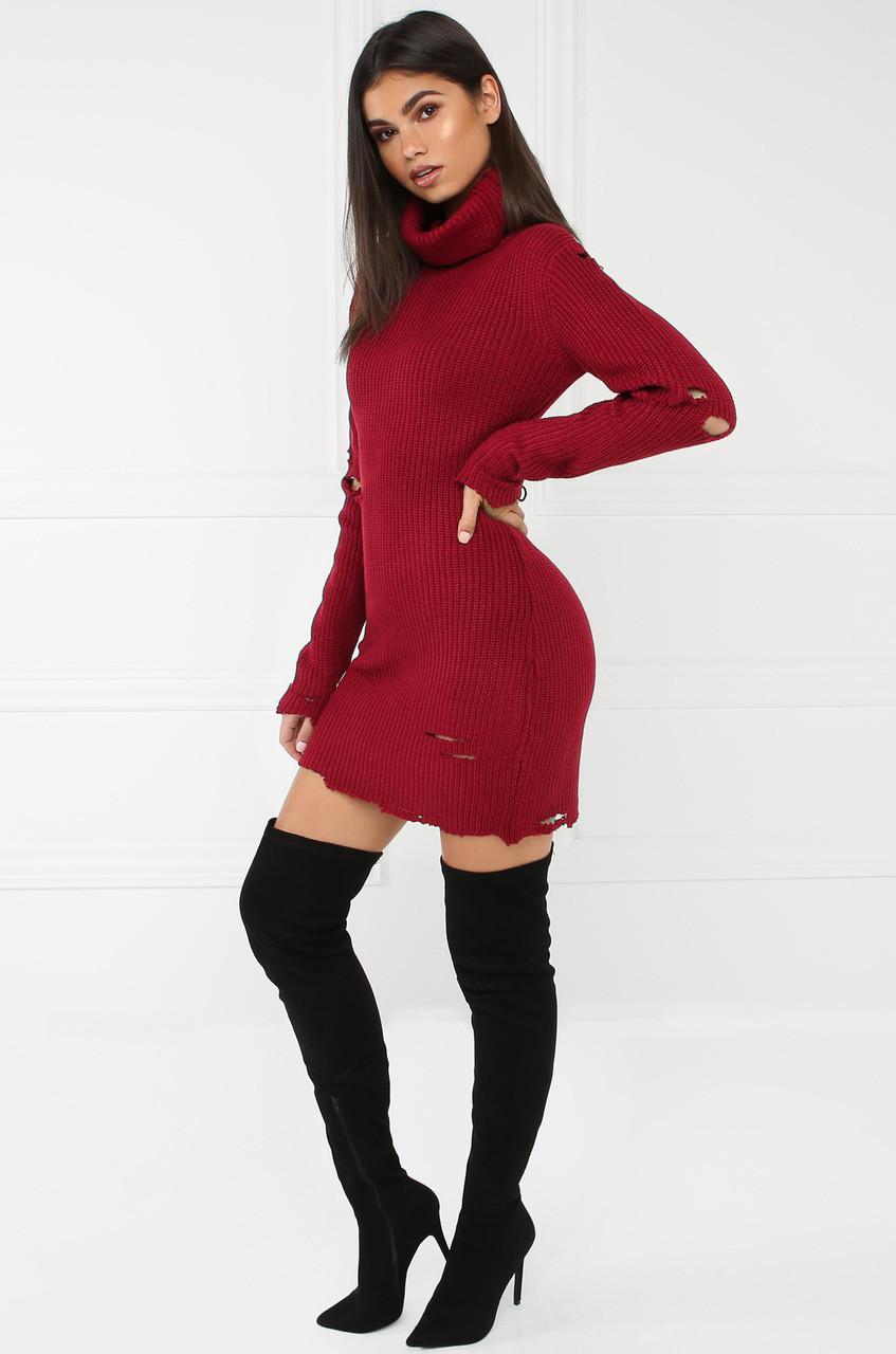 Sneak-A-Peek Sweater Dress - Red - Lola Shoetique