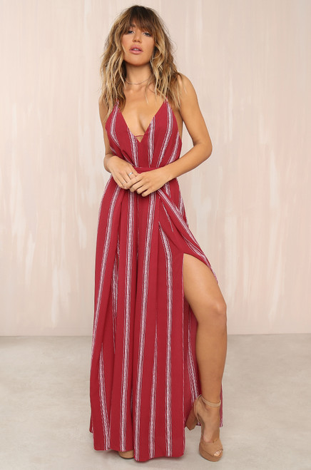 Walk The Line Jumpsuit - Red