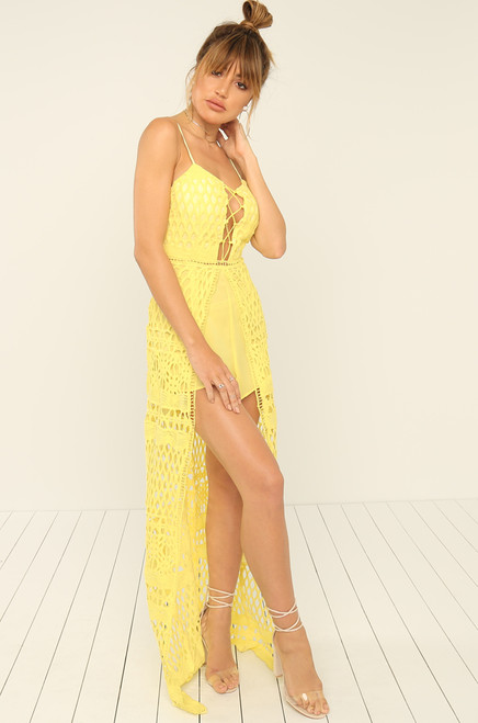 Got Your Attention Romper - Yellow