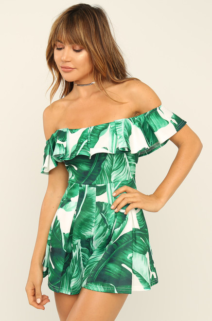 There She Goes Romper - Green