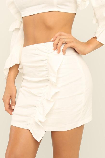 Ready To Ruffle Skirt - White
