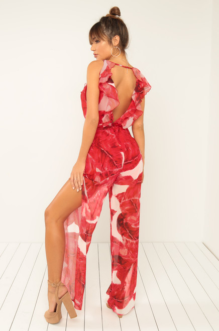 Vacay Nights Jumpsuit - Red