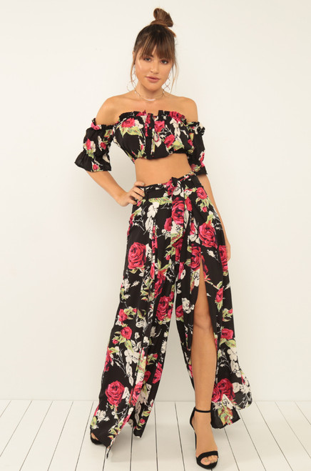 Petal With Me Co-Ord Set - Black Floral