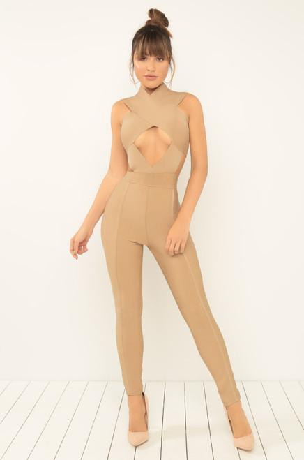 Curve-alicious Jumpsuit - Nude