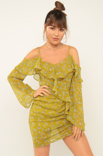 Need A Vacay Dress - Yellow Floral
