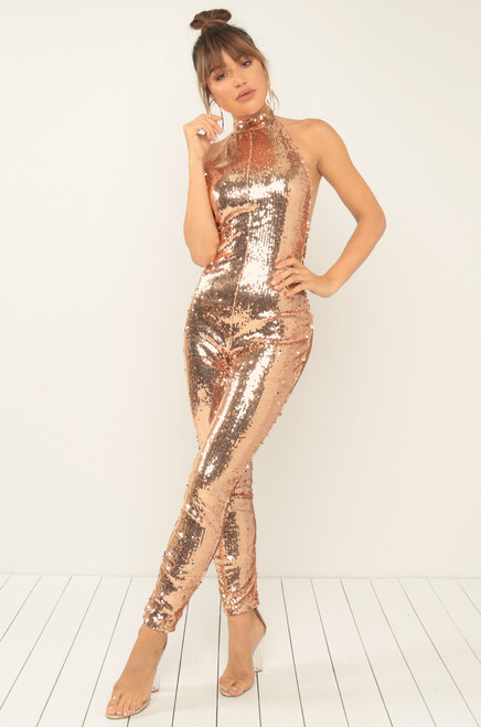 Head To Toe Jumpsuit - Champagne