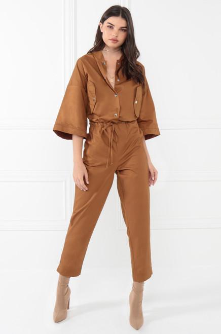 Seen In Demand Jumpsuit - Camel