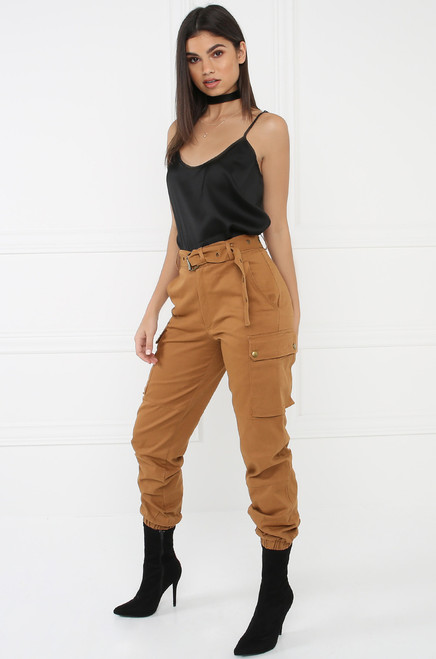 Style & Go Cargo Jogger Pants - Rust
