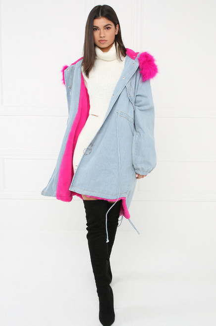 Live Out Loud Denim Coat - Pink