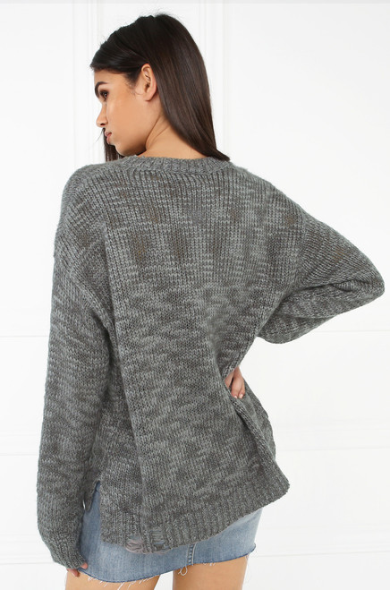 Stitch In Time Sweater - Grey