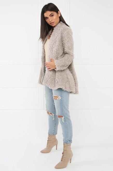Hot Faux Fur Coat - Grey
