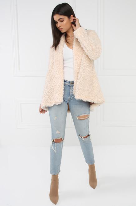 Hot Faux Fur Coat - Ivory