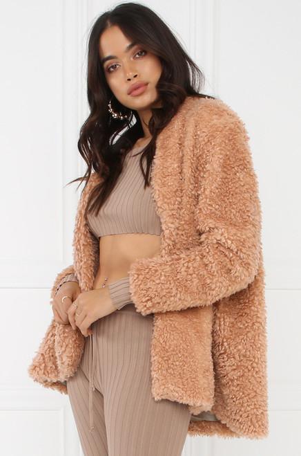 Hot Faux Fur Coat - Mauve