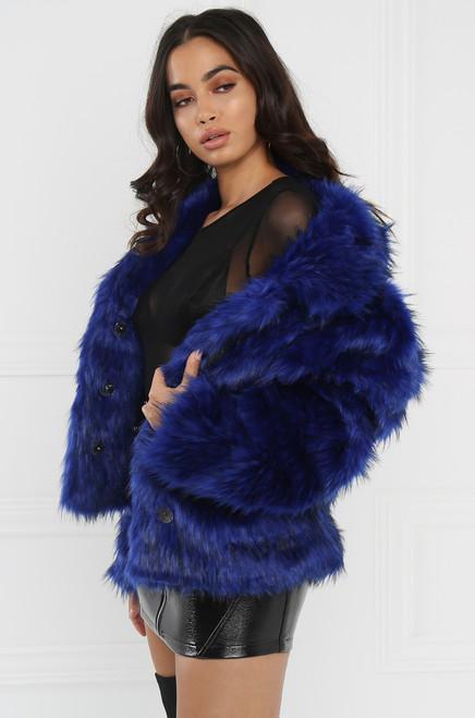 Extra-Extra Faux Fur Coat - Blue
