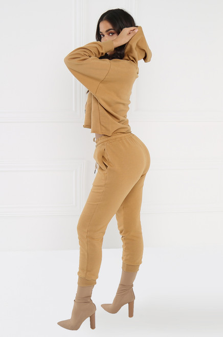 Stay On Track Co-ord Set - Camel
