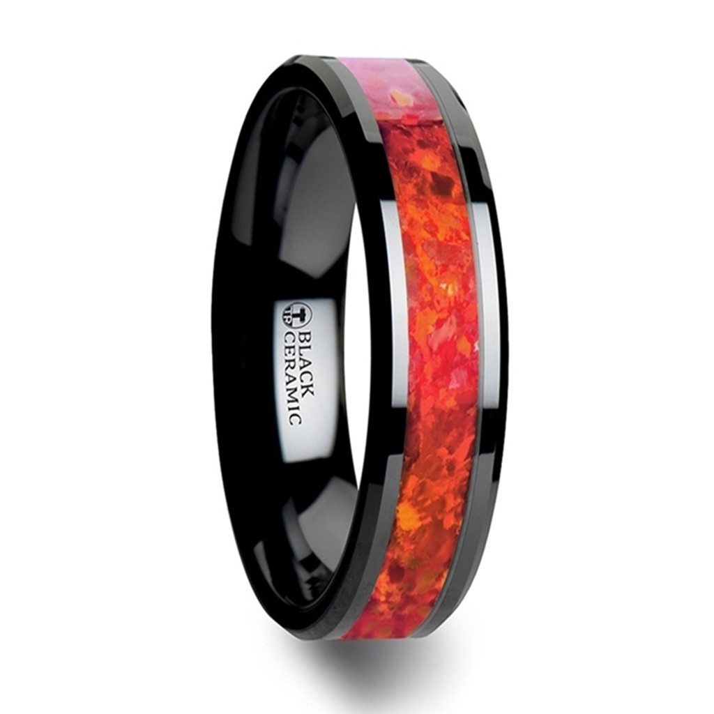 Hound Black Ceramic Wedding Band with Red Opal Inlay at Rotunda Jewelers