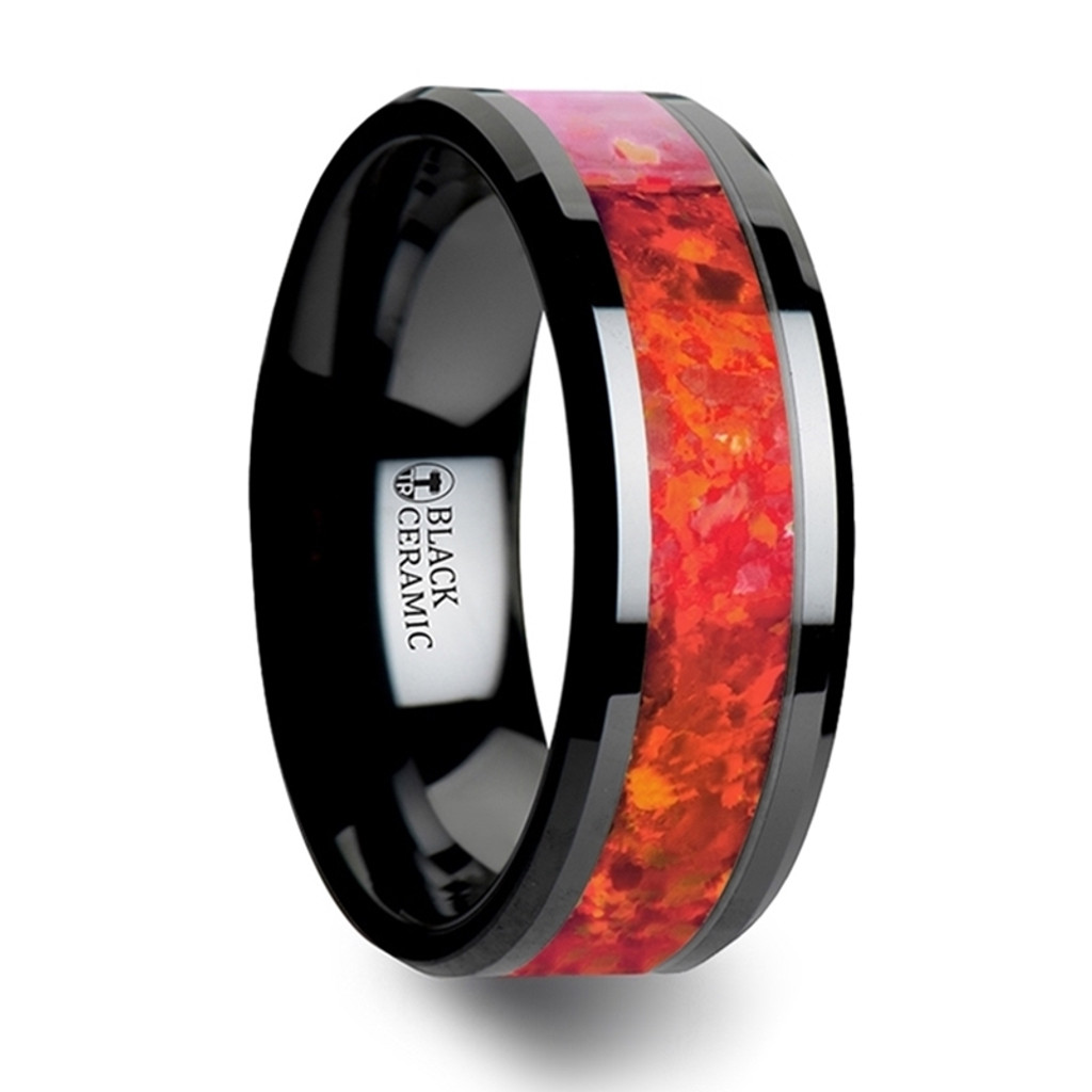 Hound Black Ceramic Wedding Band with Red Opal Inlay
