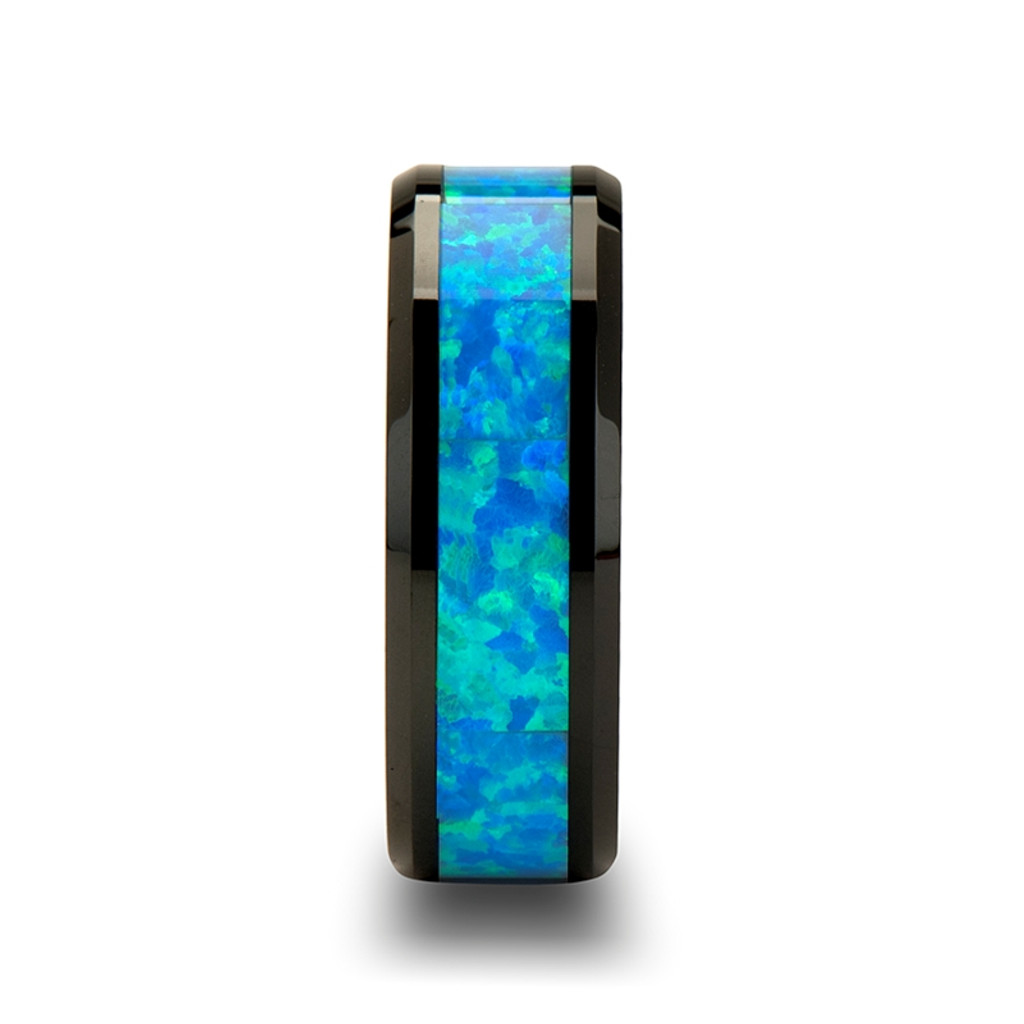 Nerine Blue & Green Opal Inlay Black Ceramic Ring