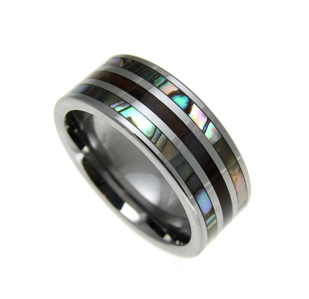 Men's Tungsten Ring With Genuine Koa Wood Inlay & Abalone Shell