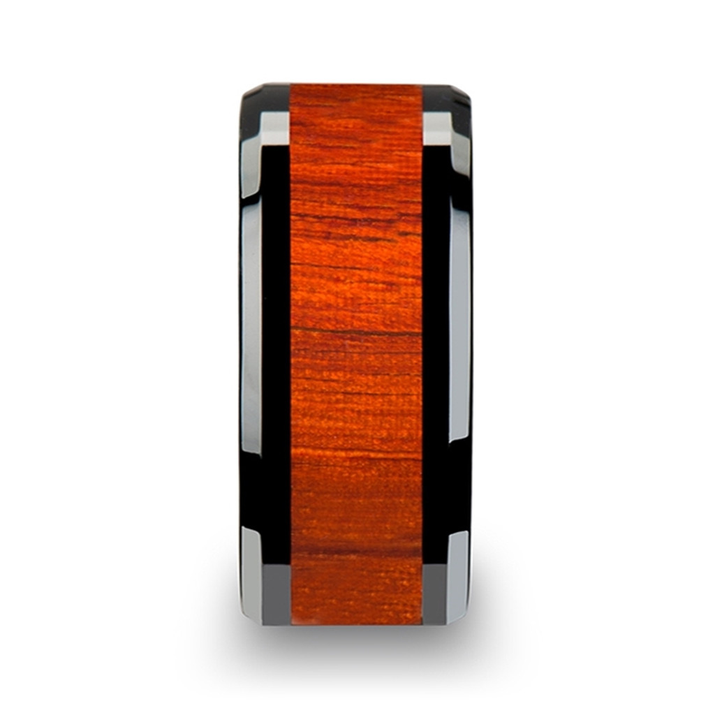 Syringa Black Ceramic Wood Band with Polished Bevels and Padauk Real Wood Inlay