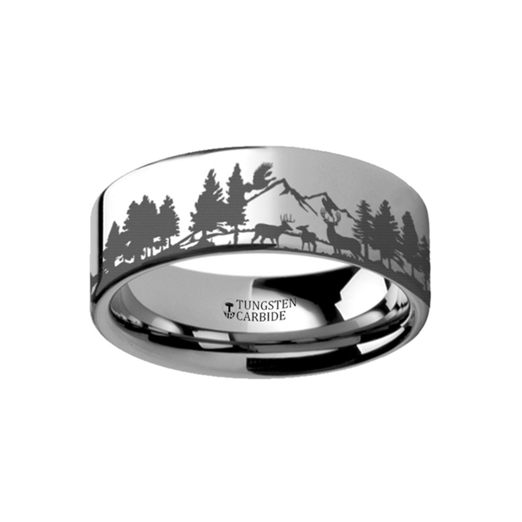 Bur Landscape Scene with Deer and Mountain Range Engraved Flat Tungsten Ring at Rotunda Jewelers