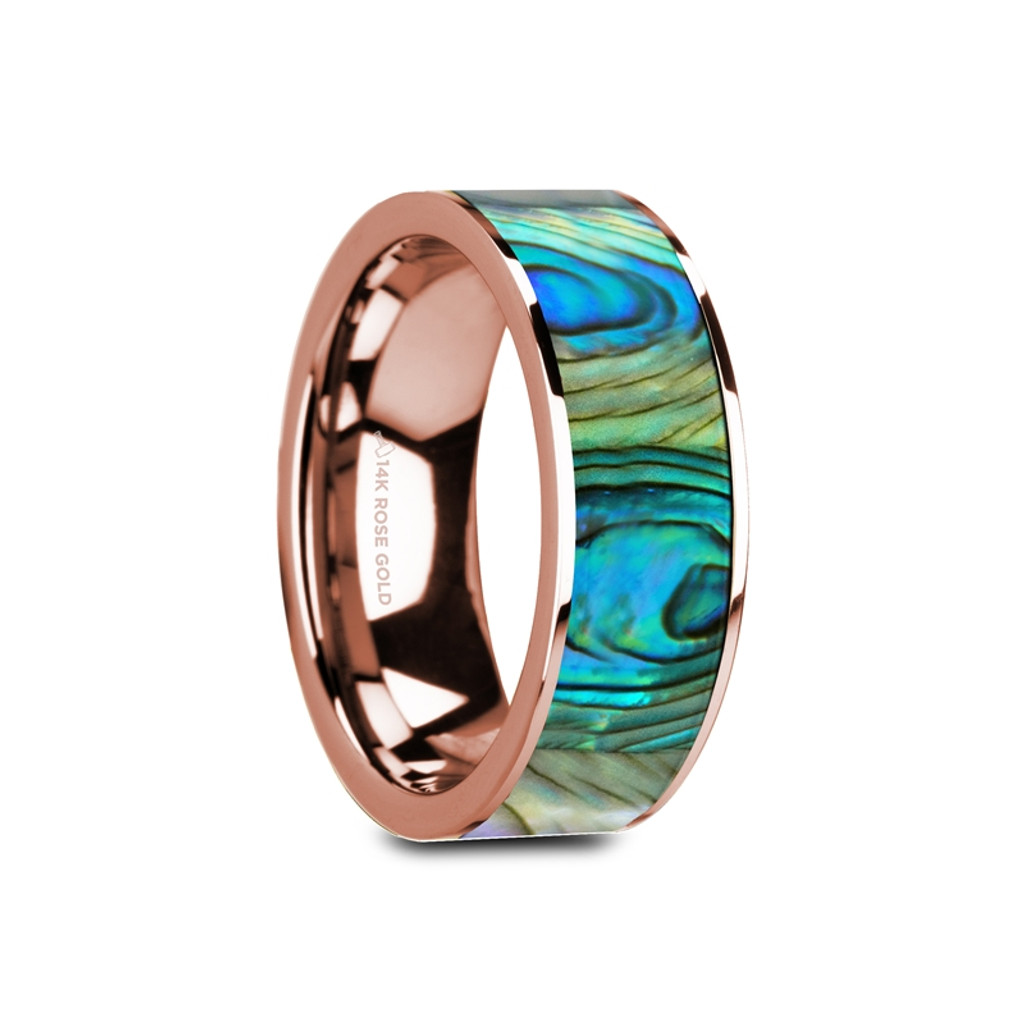 Pedunculate 14k Rose Gold Wedding Band with Mother of Pearl Inlay at Rotunda Jewelers