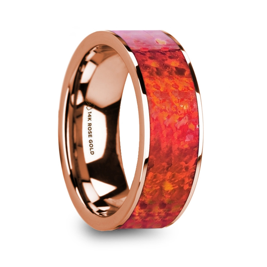 Guoleta Polished 14k Rose Gold Men's Flat Wedding Band with Red Opal Inlay at Rotunda Jewelers