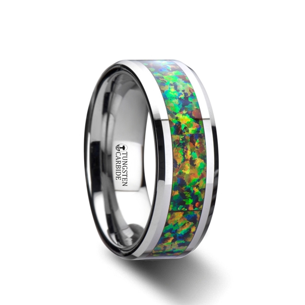 Iceland Tungsten Carbide Band with Blue & Orange Opal Inlay at Rotunda Jewelers