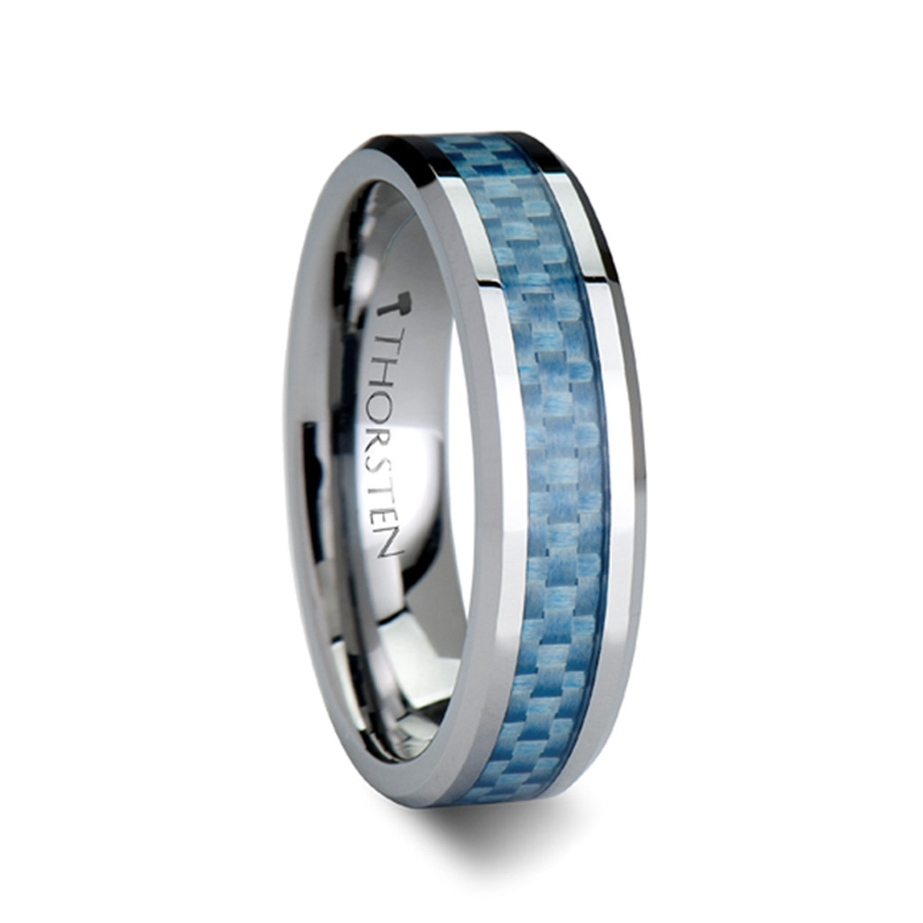 Cherry Tungsten Carbide Band with Blue Carbon Fiber Inlay at Rotunda Jewelers