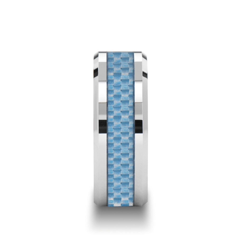 Cherry Tungsten Carbide Band with Blue Carbon Fiber Inlay