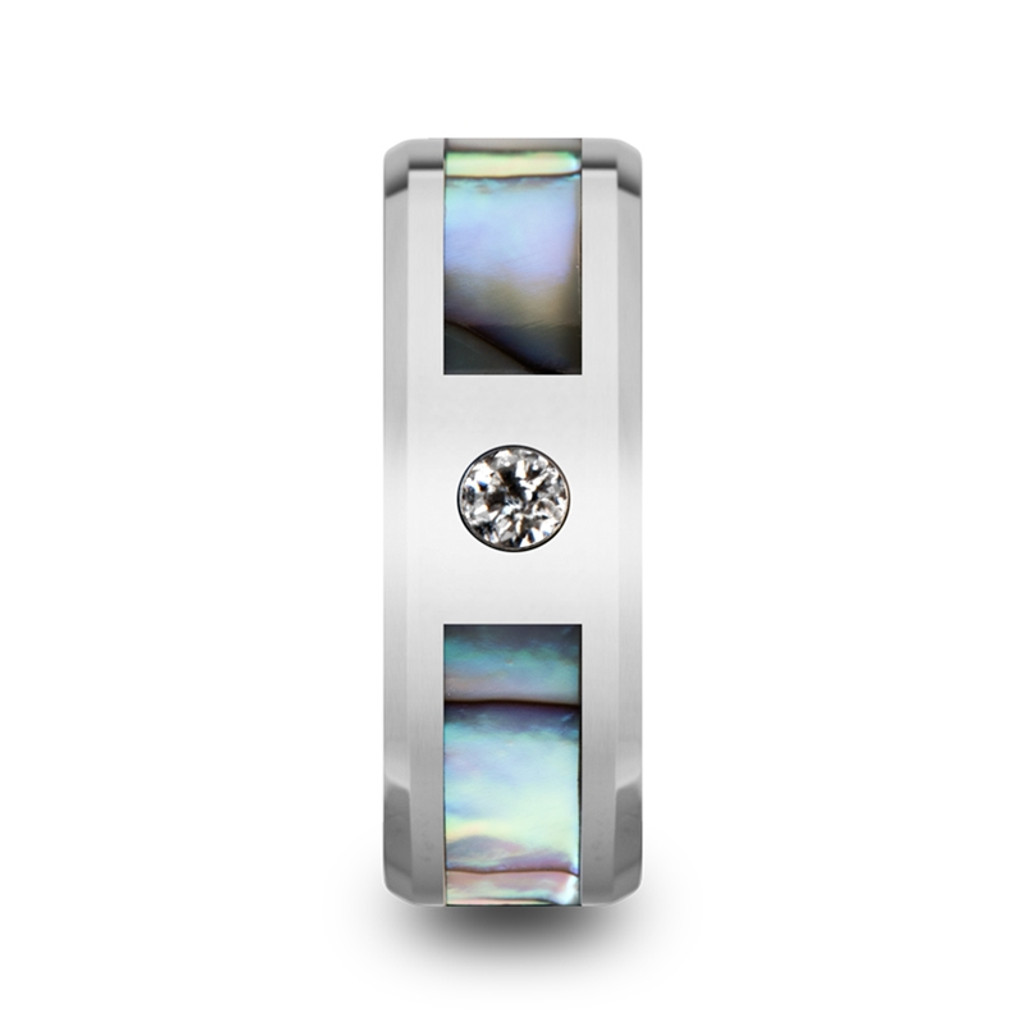 Blazing Tungsten Carbide Band with Mother of Pearl Inlay & White Diamond