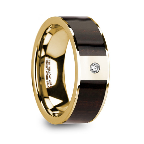 Cardinal 14k Yellow Gold Men's Wedding Band with Ebony Wood Inlay & Diamond at Rotunda Jewelers