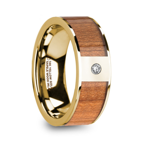 Arizona 14k Yellow Gold Men's Wedding Band with Sapele Wood Inlay & Diamond at Rotunda Jewelers
