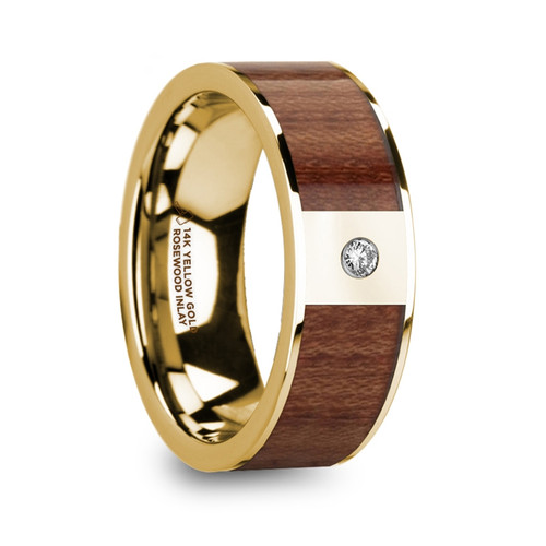 Cabinet 14k Yellow Gold Men's Wedding Band with Rosewood Inlay & Diamond at Rotunda Jewelers
