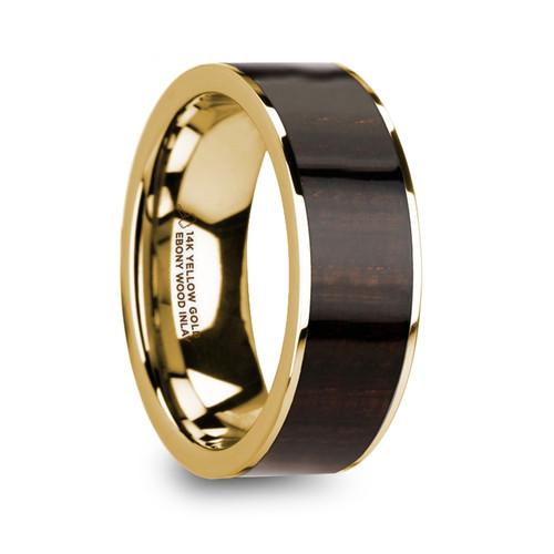 Glory 14k Yellow Gold Men's Flat Wedding Band with Ebony Wood Inlay at Rotunda Jewelers