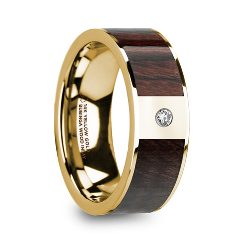 Buckeye 14k Yellow Gold Men's Band with Bubinga Wood Inlay & Diamond at Rotunda Jewelers